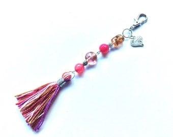 Purse charm/keychain, pink beaded tassel purse charm/keychain