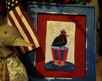 Uncle Sam crow punch needle pattern