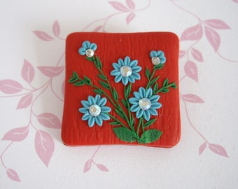Polymer clay brooch, Pomegranate and turquoise brooch, Polymer clay floral brooch, Floral brooch, Clay embroidery brooch