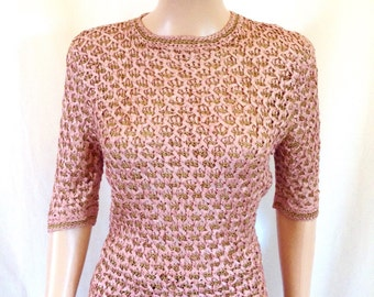 1940's dusty rose colored ribbon & gold corde crocheted blouse Sz. M