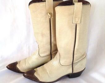 1970's Acme Lizard Skin Spectator-toe Western Boots Sz. 6