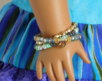 3 Teal, Blue and Gold Trendy Stacking Bracelets for 18 inch girl dolls, American Made dressy outfit accessory, stylish No Clasp doll jewelry