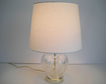 Cut Glass Lamp with a White Shade