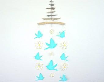 Baby Mobile, Flying Bird Mobile, Driftwood, Handmade, Bird Mobile