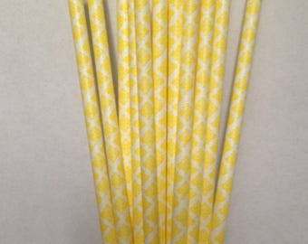 CLEARANCE! Paper Straws 25 Yellow Damask