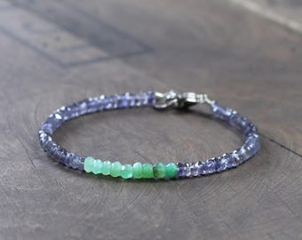 Beaded Chrysoprase & Iolite Bracelet in Sterling Silver, Gold Filled, Dark Blue Bright Green Gemstone Bracelet, Natural Chrysoprase Jewelry