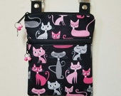 """Cat Crossbody Purse, Small Purse, Shoulder Purse with Cats, Small Travel Purse, Front Zipper Pocket, 68"""" Adjustable Strap,Nylon Lining."""