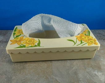 Vintage Tissue Box with Yellow and Gold Flowers and Green Leaves - Vintage 70's!