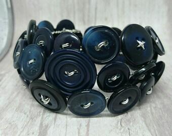 Navy blue wraparound button bracelet, memory wire bracelet, cuff style bracelet, handmade button bracelet