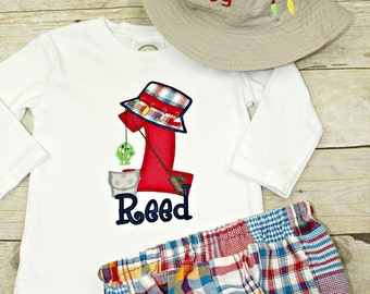 Fishing Hat Birthday Smash Cake Shirt, Hat and Diaper Cover Birthday set, Smash Cake Outfit