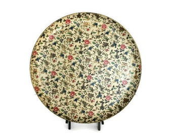 Large paper mache tray floral chintz round vanity or serving platter