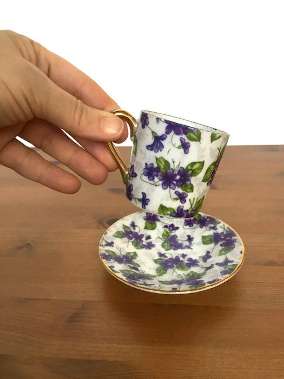 Inarco cup and saucer vintage chintz porcelain violet and gold plate