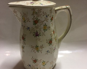 Takito Coffee Pot Pitcher with Lid, Hand Painted Floral Design Japan Vintage