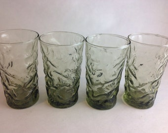 Set of 4 Anchor Hocking Milano Lido Juice Glasses Avocado Olive Green Bumpy Crinkle Mid Century Retro Breakfast Glassware Set