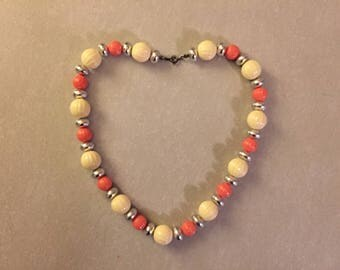 Vintage Salmon and White Beaded Necklace