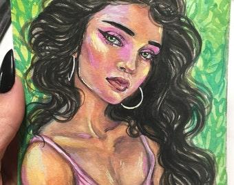 Portrait of Bbygrl Original 4x6 Gouache Painting