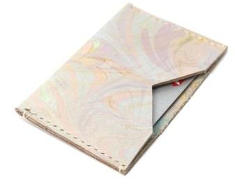 Handmade Pastel Leather Cardholder, Oyster Credit Card Holder