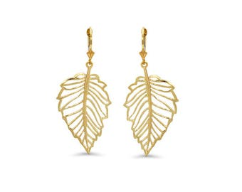 14k solid gold cutout leaf lever back earrings. floral jewelry.
