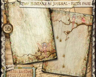 Digitally collaged Journal/Diary printable A4 pages - No.16