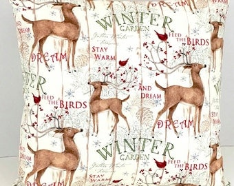 Reindeer and Cardinal Winter Pillow Cover