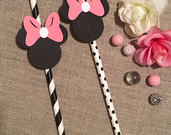 Minnie Mouse paper straws - black, white and ? - polka dot paper straw - striped paper straw