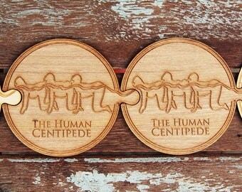 The Human Centipede Endless Coasters set, High Quality Engrave Coasters