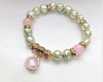 Mint pink freshwater pearls Stretch Bracelet with Rose Quartz bracelet