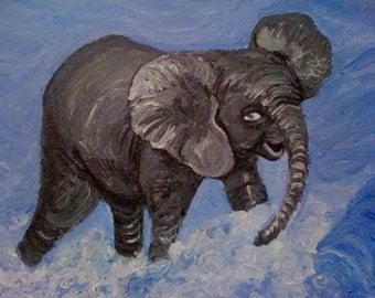Baby Elephant Splashing in the Water