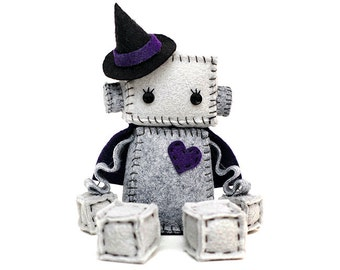 Witch Robot Plush With a Heart, Cape and Witch Hat in Orange, Lime Green, Purple or Hot Pink