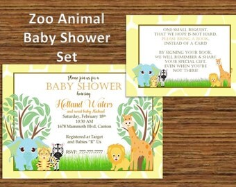 DIY PRINTABLE Baby Shower Invitation Zoo Animals|  Baby Shower | Bring A BOOK Card