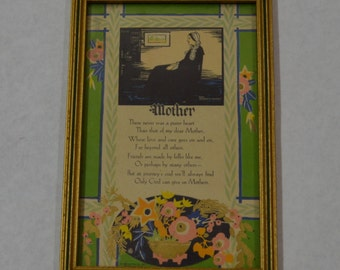 1930's Framed Poem Whistler's Mother Print with Saying