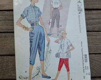1950's McCall's 8820 Tapered Pedal Pushers & Shirt Pattern