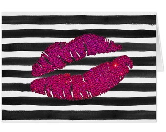 Lips Notecards, Thank You Cards, Stationery, Personalized Stationery, Stationery Supplies