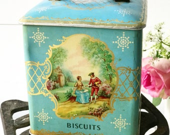 "A lovely vintage turquiose Fragonard ""Biscuits"" tea caddy tin"