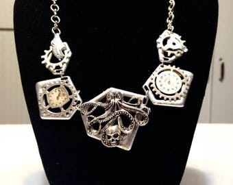 Steampunk Necklace Octopus Vintage Watch Parts necklace cosplay jewelry urban chic victorian industrial urban Silver