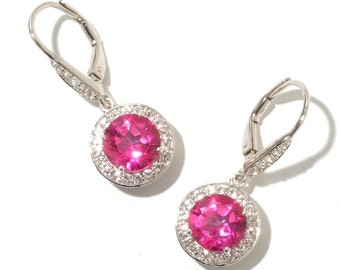 "Sterling Silver 5.5ctw Pink & White Topaz Dangle Earrings 1""L"