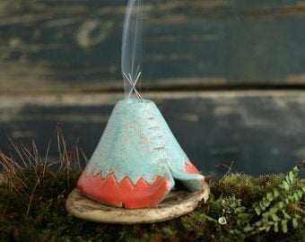 Incense Burner TeePee that smokes, Ceramic Aqua Coral Design, Native American Indian Aztec Design, Stoneware Clay Pottery, Unique Yogi Gift