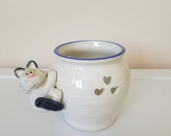 Ceramic Pottery Plant Pot with Cat - Signed Nishio