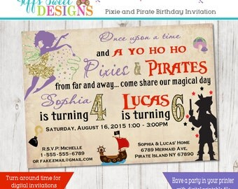 Pixie And Pirate Birthday Brother and Sister Birthday Party - Sibling Invitation - Pixie and Pirate Twins -