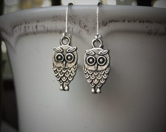 Silver Owl Earrings With Lever Backs
