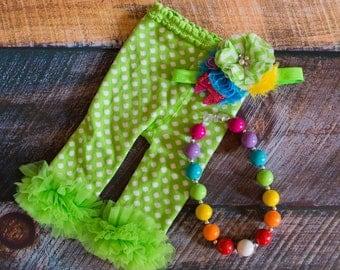 Green/Rainbow Newborn Polk-a-dot Ruffle Pants 3pc Set
