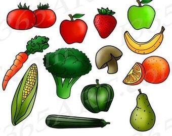 Vegetables clip art cute veggies clipart digital clip art avocado - Vegetables Clipart Etsy