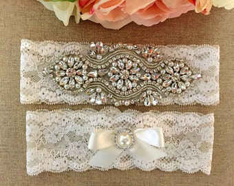 Wedding Garter - Rhinestone Bridal Garter -  Crystal Rhinestone Lace Garter and Toss Garter Set