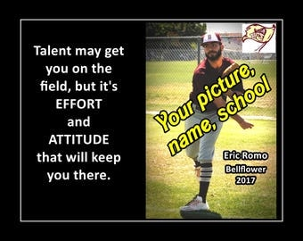 """Personalized Custom Poster, Son Baseball Poster, Daughter Softball Wall Art Print, Effort & Attitude Keep You There, 8x10"""", 11x14"""", 16x20"""""""