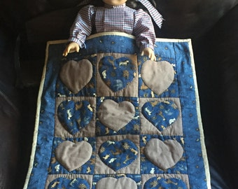 Handmade American girl doll quilt.  100 percent cotton.  Hand applique and hand quilted.