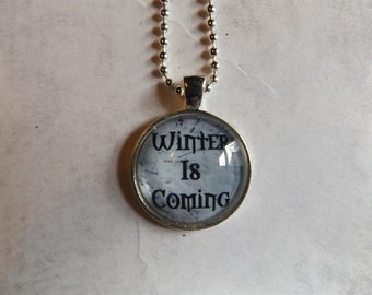 "House Stark ""Winter Is Coming"" house words pendant necklace - Game of Thrones inspired - Song of Ice and Fire, quote, simple, direwolf, arya"