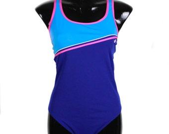 Vintage 90's Blue, Pink and Aqua, Racing Back, One Piece Bathers, Swimwear, bodysuit, 80s bathers, 90s bathers, retro swimwear