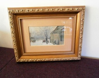Paul Sawyier Print Lithograph Vintage Kentucky Artist Bridge Street Snow Town Horses Carriage Impressionism Gold Frame