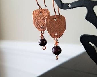Etched Copper Earrings with Dark Cranberry beads