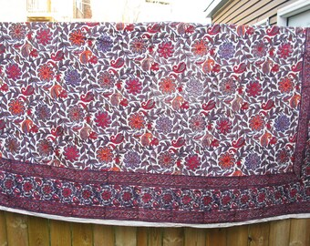 "Vintage India  Cotton Block Print Bedspread - Tablecloth  - Textile - Purple Floral - 100"" x 84"""